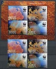 Niue 2012 WWF Korallen Corals Riesenfächerkoralle 1198-1201 Block 168 MNH