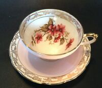 Sutherland Teacup & Saucer - Pink & Gold With Wild Roses - Staffordshire England