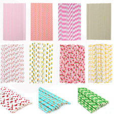 25PCS Colourful Paper Drinking Straws Straw Xmas Vintage Striped Party Wedding