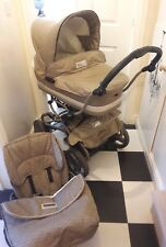 bebe car pram pushchair champagne gold on sprung chassis base