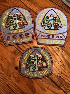 SHOSHONE ARAPAHOE TRIBAL POLICE FISH & GAME PATCHES LOT THREE WYOMING MINT