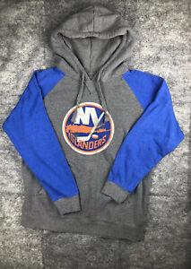 Men's NHL New York Islanders Fanatics Gray Pullover Hoodie L Distressed Look
