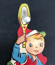 Vtg 40s 50s Tennis Kid Boy Valentines Card Ephemera Greeting Sports Ball Racquet