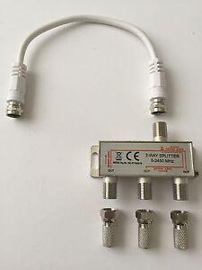 3-fach SAT Verteiler, Splitter Weiche Satverteiler, 20cm SAT-Kabel, 3xF-St. 7mm