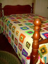 VTG Hand knitted  CROCHET Granny Square blanket BEDSPREAD QUILT~XL~144 X 94~EUC