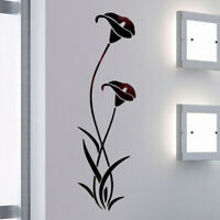 Mirror Flower Art Removable Wall Sticker Acrylic Mural Decal Home Room Decor DIY
