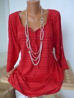 Sheego Shirt Bluse Gr. 44/46 Rot Streifen Desig (145) NEU