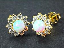 333 Gold Ohrstecker 1 Paar  Zirkonia Opal  Gelbgold Blume
