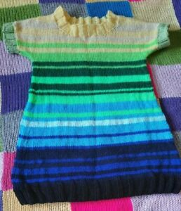 Hand Knitted Striped Dress 12-24 Months