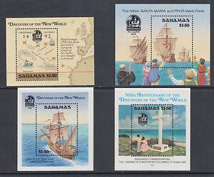 Bahamas Sc 644/753 MNH. 1988-1992 Discovery of America Souvenir Sheets, 4 diff