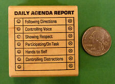 Daily Agenda Report, Teacher Wood Mtd. Rubber Stamp for daily student evaluation