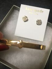 KATE SPADE 12K Gold Plated Pave Crystal Spade Earrings & Spade Bangle Bracelet