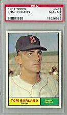 1961 Topps #419, Tom Borland, Boston Red Sox, PSA 8, NM-MT