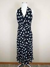Jones Studio 6 Midi Dress Polka Dot Black White Halter Neckline Cocktail Evening