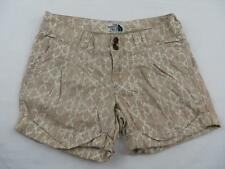 North Face Womens Brown Linen Hiking Shorts Size 4 (30) Animal Print Travel Camp