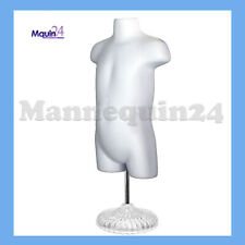 Toddler Mannequin Torso w/ Stand + Hanger - White Hollow Back Kids Dress Form