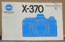 Minolta X-370 Owners Manual