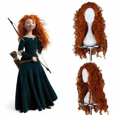 Long Curly Merida Cosplay Wig Brave Costume Props Princess Yellow Halloween New