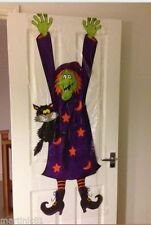 3D Crashed Witch Banner Door Cover Wall Scene Setter Halloween Decoration Poster