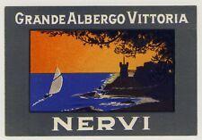Hotel Grande Albergo Vittoria NERVI Italy * Old Luggage Label Kofferaufkleber