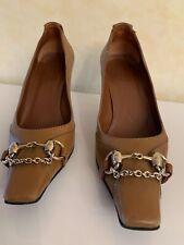 Gucci Business High Heels Pumps Gr. 38 C Horsebit Leder Beige Braun Ocker