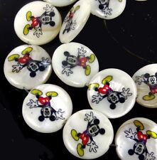 18mm Disney Mickey Mouse Mother Of  Pearl Disc Coin Beads 15""