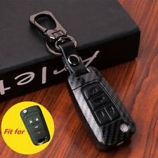 Black Carbon Fiber Leather 4 Button Key Case Cover Chain for Chevrolet Buick GMC