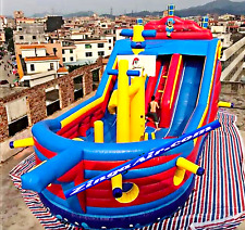 50x25x30 Commercial Inflatable Pirate Ship Slide Obstacle Course Bounce Moonwalk