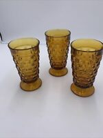 SET 3 INDIANA WHITEHALL CUBE AMBER TUMBLERS ICED TEA GLASSES - GREAT CONDITION!