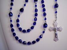 "Rosary Womens Police Cobalt Blue Czech Glass 19"" Las Mujeres Policia Rosario"