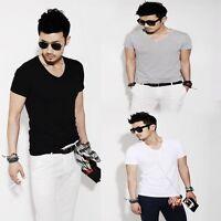Men's Slim Cotton Fit Stylish Short Sleeve Casual T-shirt Tee Tops Size M/L/XL