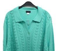 Nuovo Taglie Forti Chic Donna Maniche Lunghe Pullover Chiaro Verde con Colletto