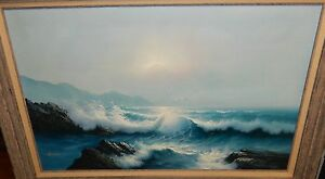 NEWMAN LARGE ORIGINAL OIL ON CANVAS SEASCAPE BIRDS PAINTING