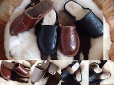 Hommes Cuir Laine Brun Noir Confortable Chaussures Pantoufles Taille 7 8 9 10 11