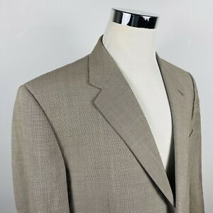 Hickey Freeman Mens 46R Sport Coat Brown Houndstooth 100% Wool Two Button Vented