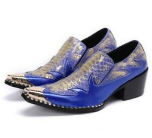 Mens Leather Shoes Slip-on Pointed Toe Wedding Cockyail Pumps Party Business 48