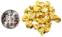 1.000 GRAMS ALASKAN YUKON BC NATURAL PURE GOLD NUGGETS #4 MESH FREE SHIPPING