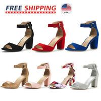 Women's Low Chunky Heel Sandals Ankle Strap OPen Toe Pump Dress Shoes