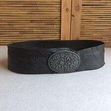 VINTAGE Black LEATHER Pewter OVAL Floral BOHO Hippie WESTERN Waist HIP Belt