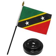 "St Kitts and Nevis 4""x6"" Flag Desk Set Table Stick Black Base"