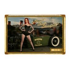 INK N IRON keep Shit Straight Hot Rod Pin up girl Retrò SIGN IN LAMIERA SCUDO SCUDO