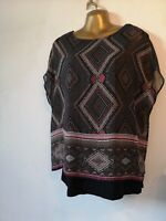 David Emanuel 10 black purple sheer loose blouse stretch lined beautiful party
