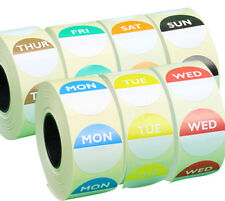 Day Dot Food Labels Set of 7 Rolls x 1000 / Catering Stickers in Dispenser Boxes
