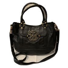 TORY BURCH Amanda Black Pebbled Leather Soft Hobo Handbag Gold Hardware MINT!