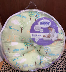 Original Boppy Newborn Lounger—Sunday Stroll- Green, Elephants Hippos, Turtles