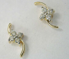Sparklingl!! 0.32ct Diamond Solid Gold Lovely Cute Engagement Earrings