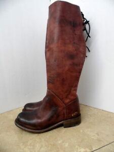 Bed Stu Burgundy Cobbler Series Tall Knee High Lace Back Women's Boots Sz 6 EUC