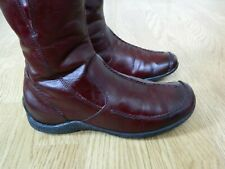 Rieker Leather Ladies Flat Knee Boots Burgundy with Fur Lining Size 7.5 / 41