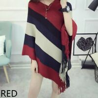 Women Poncho Wrap Cape Shawl Knitted Cloak Stripe Batwing Sweater Top Tassel Red