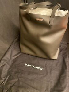 Saint Laurent $995 Olive Leather Shopping Tote Bag + zip wallet - YSL 467946-New